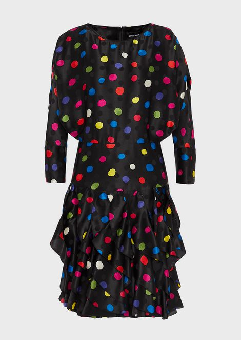 Polka-dot satin crêpe dress with flounced skirt