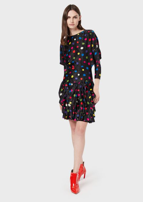 Polka dot satin crepe dress with flounced skirt