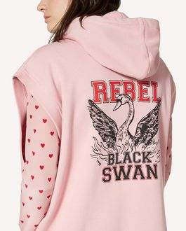 REDValentino Sleeveless sweatshirt with Rebel Black Swan print
