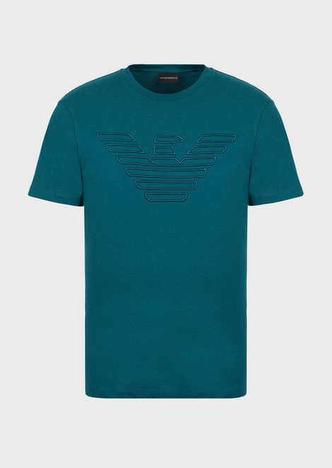 Cotton jersey T-shirt with embroidered eagle