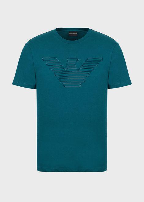 Tシャツ コットンジャージー製 イーグル刺繍