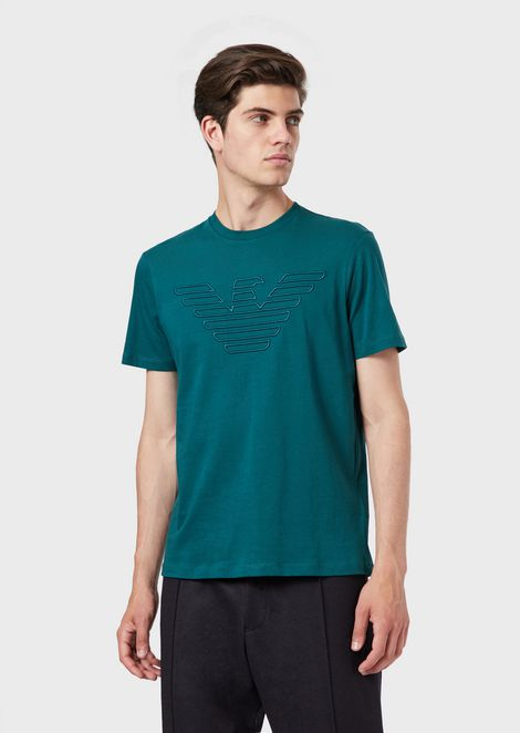 0649abbaab56 Cotton jersey T-shirt with embroidered eagle