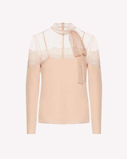 Limited Edition   Silk and point d'esprit tulle top with lace ribbon