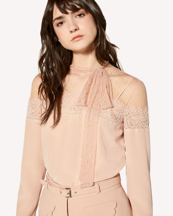REDValentino Limited Edition   Silk and point d'esprit tulle top with lace ribbon