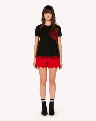 REDValentino T-shirt with tulle point d'esprit and heart inlay