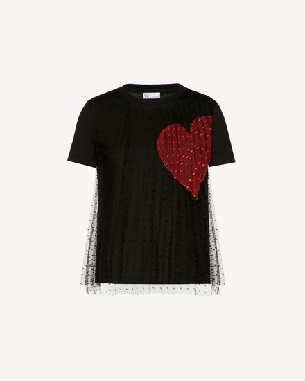 T-shirt with point d'Esprit tulle and heart intarsia