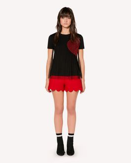REDValentino  T-shirt with point d'Esprit tulle and heart intarsia