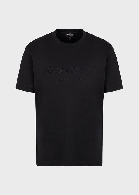 Camiseta de punto de algodón con logotipo estampado