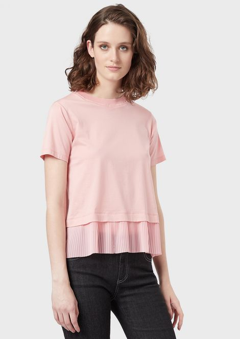 T-shirt with pleated voile hem