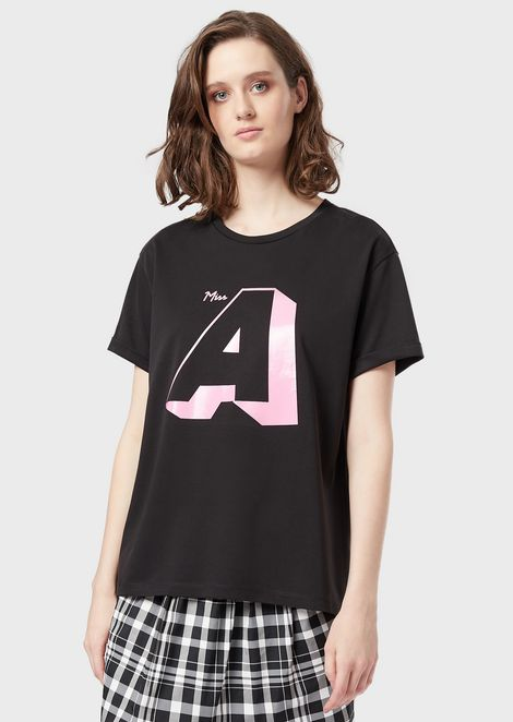 Jersey T-shirt with a maxi print on the front and back