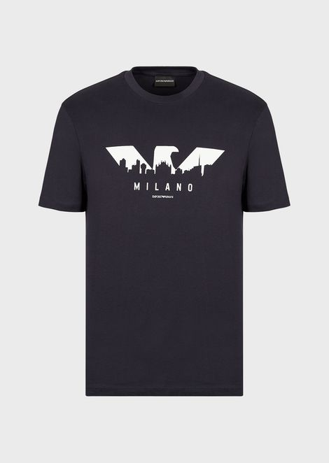 Cotton jersey T-shirt with logo-and-city print