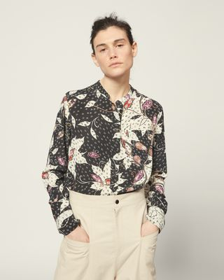 ISABEL MARANT SHIRT & BLOUSE Woman Printed silk shirt Long sleeves Round collar with front button tab Chest patch pocket  r
