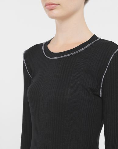 TOPS & TEES Ribbed pullover Black