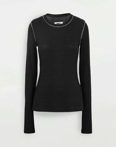 MM6 MAISON MARGIELA Ribbed pullover Long sleeve t-shirt Woman f