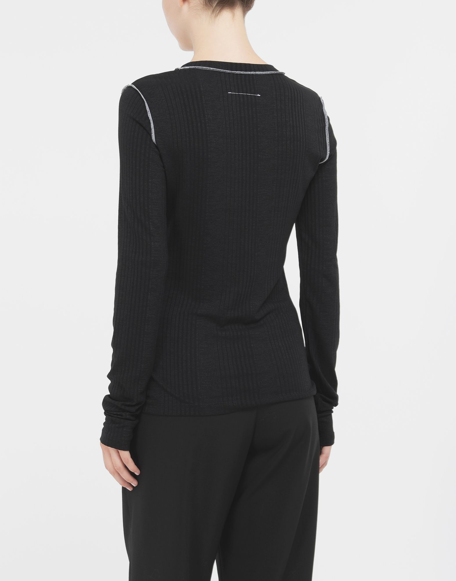 MM6 MAISON MARGIELA Ribbed pullover Long sleeve t-shirt Woman e