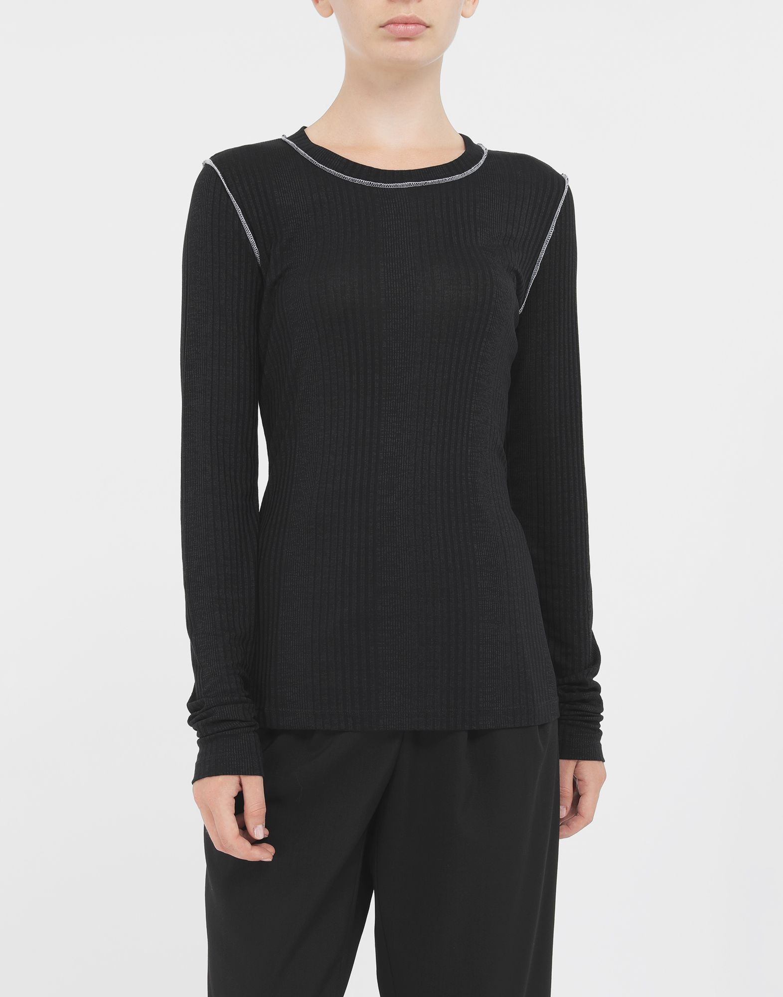 MM6 MAISON MARGIELA Ribbed pullover Long sleeve t-shirt Woman r