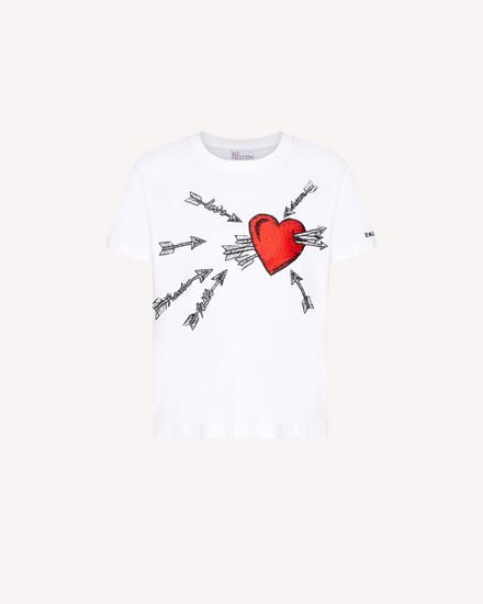 Heart and arrow embroidered  t-shirt