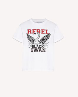 "REDValentino ""Rebel Black Swan"" print T-shirt"