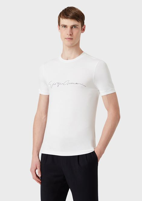 Mercerised viscose jersey T-shirt with a signature print
