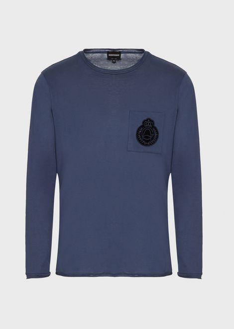 Cotton jersey sweater with crest appliqué