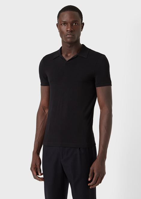 Stretch viscose jersey polo shirt
