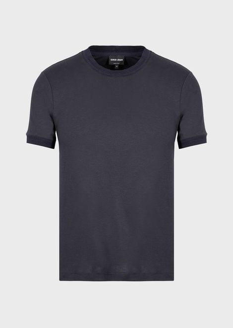 Mulberry silk and viscose T-shirt with contrasting trim