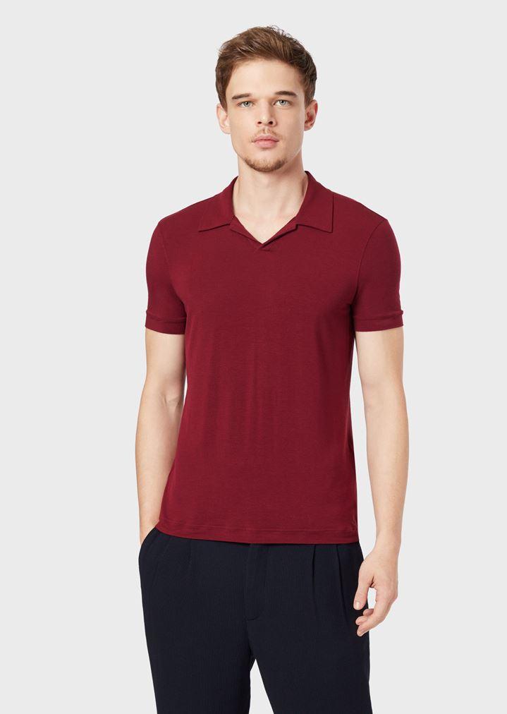 4e36d3cf34 Stretch viscose jersey polo shirt