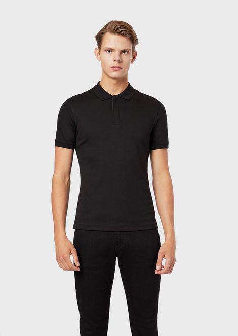 Cotton interlock jersey polo shirt