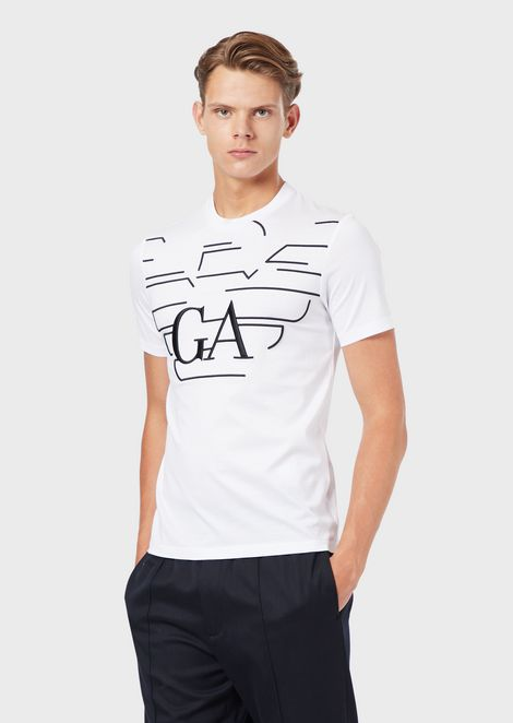 T-shirt in mercerised cotton jersey with printed logo
