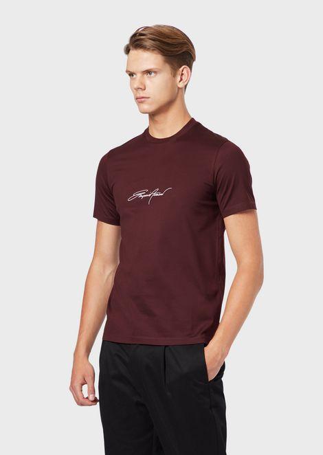 Camiseta de punto de algodón mercerizado con logotipo estampado