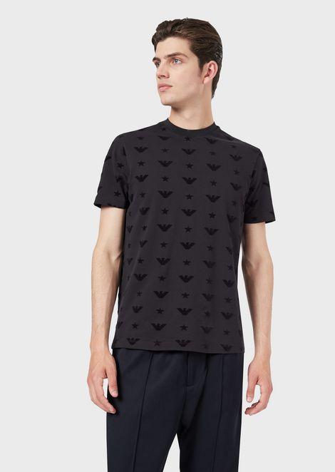 T-Shirt aus Pikee mit Adler als Allover-Motiv