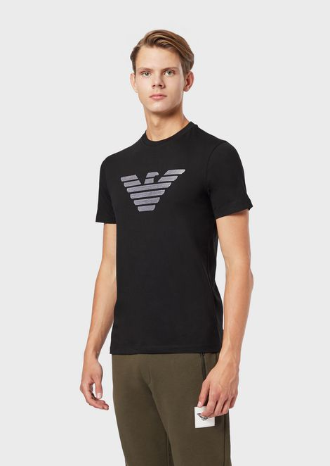 Cotton jersey T-shirt with eagle print