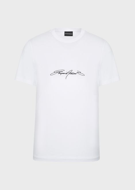 T-shirt in mercerised cotton with printed logo