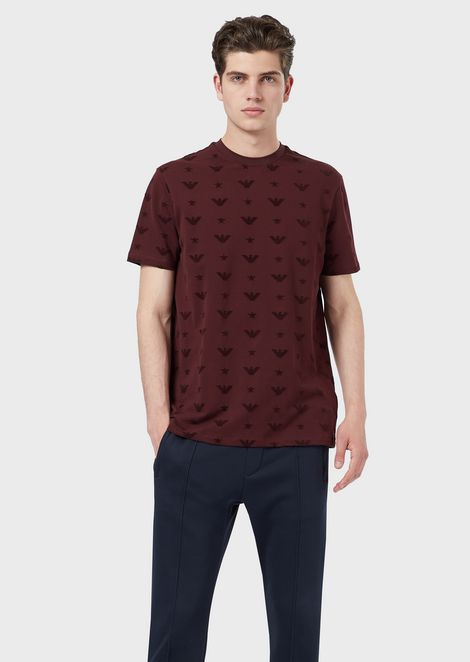Piqué T-shirt with all-over eagle print