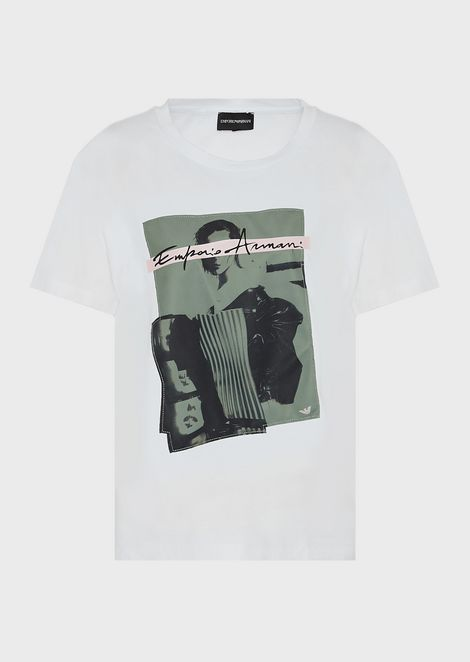 Jersey T-shirt with maxi photographic print