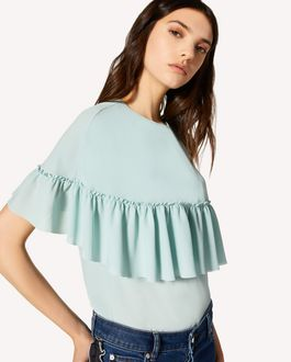 REDValentino Georgette top with ruffle detail