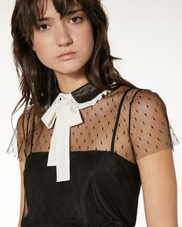REDValentino Tulle point d'esprit top with collar bow detail
