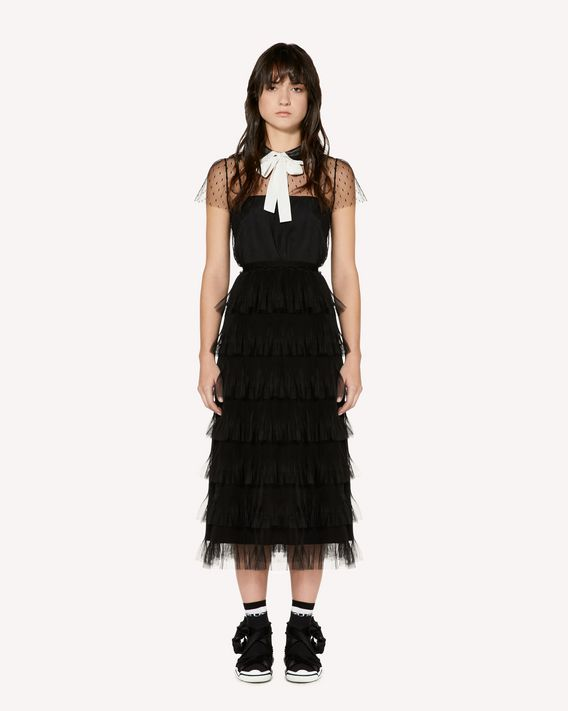REDValentino Point d'Esprit tulle top with rounded collar and bow