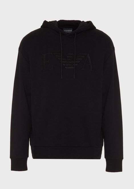 Hooded cotton sweatshirt with embroidered logo