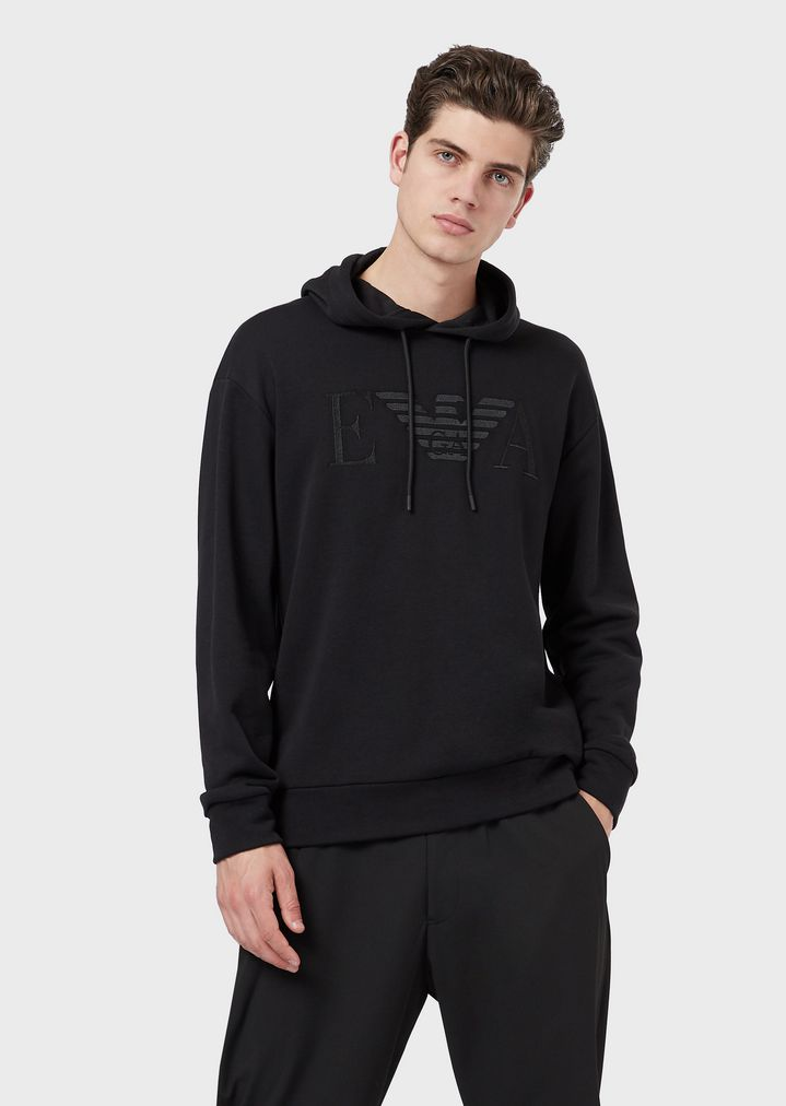 5445b0d72e Hooded cotton sweatshirt with embroidered logo