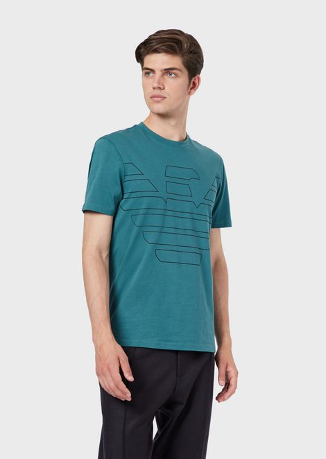 Cotton jersey T-shirt with maxi eagle