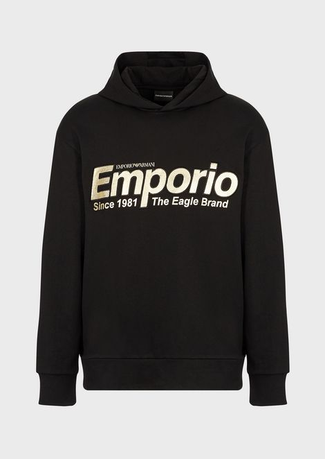 Sweatshirt with hood and reflective embroidered logo