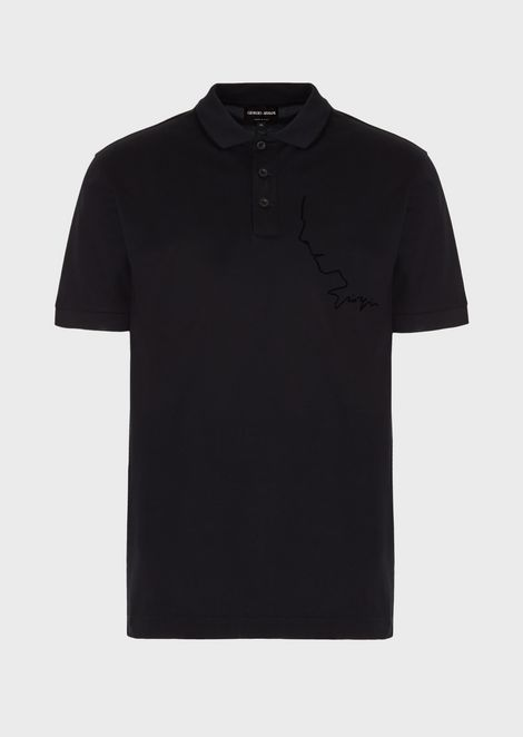 Micro piqué polo shirt with Mr Armani's profile in a flocked print