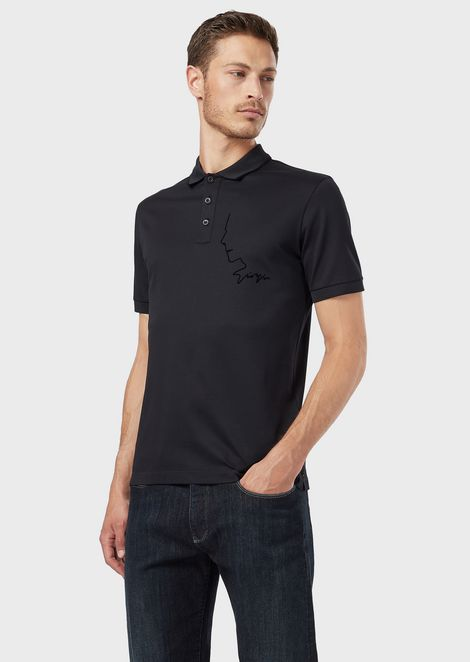 0b8a252bb Micro piqué polo shirt with Mr Armani's profile in a flocked print