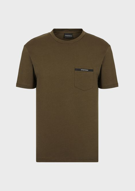Jersey T-shirt with pocket and branded edging