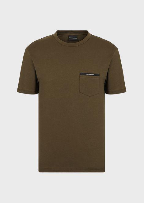 Camiseta de punto con bolsillo y borde con logotipo