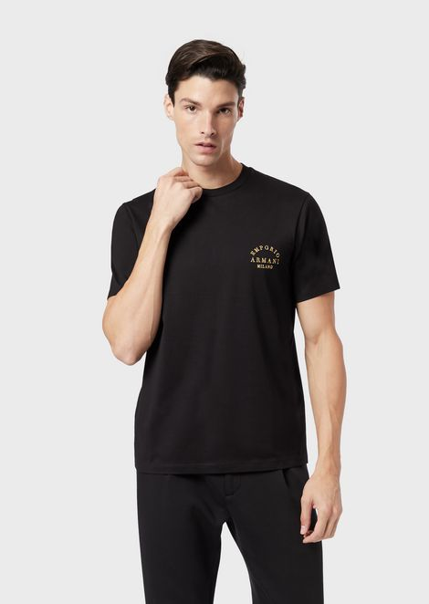 T-shirt in mercerised jersey with embroidered logo