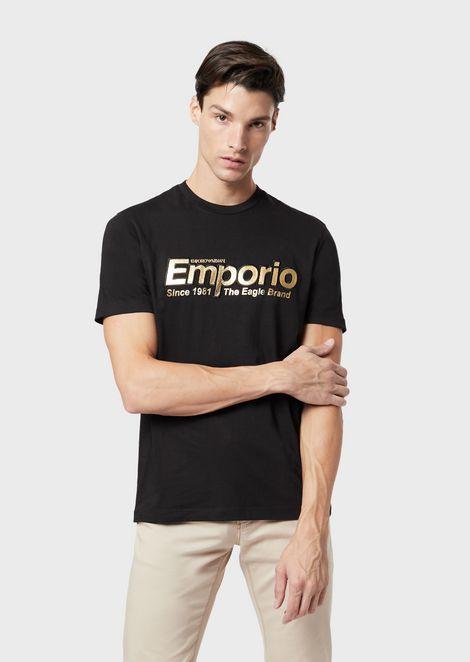 Camiseta de corte ajustado en algodón pima con estampado de logotipo
