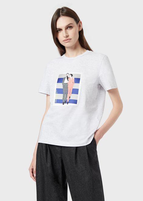 Camiseta con estampado del desfile Giorgio Armani OI 1995