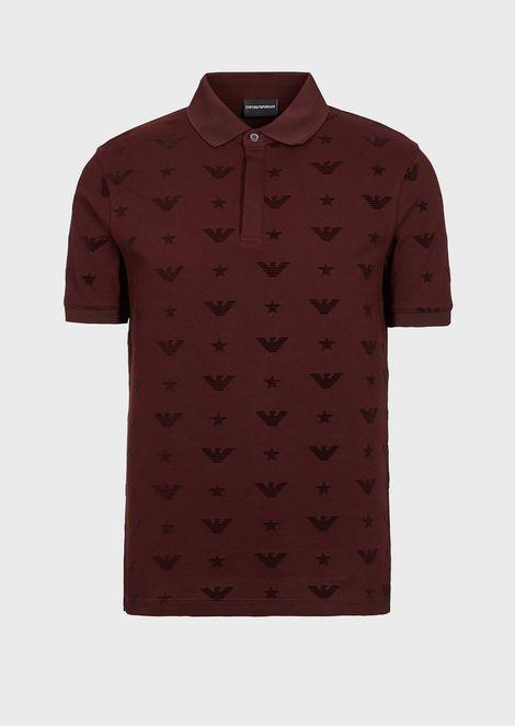 Polo de puro algodón con logotipo jacquard por toda la prenda